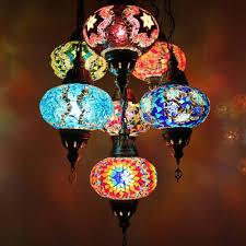 turkish moroccan style mosaic hanging ceiling lamp light 7 large globe
