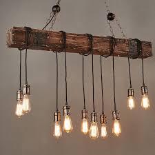 10 lights antique farmhouse wood beam island hanging pendant light chandelier