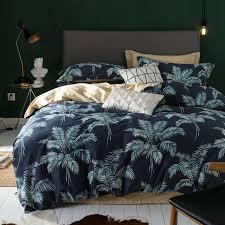 posodono 100 egyptian cotton bedding set palm leaf leaves print duvet cover bed linen pillow