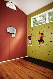 diy basketball hoop home gym transitional with wood flooring red walls