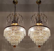 a pair of antique french basket style brass crystals chandeliers from 1950 s