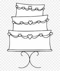 wedding cake clipart black and white. Beautiful Cake Cake Black And White Wedding Clipart  Coloring  Page Throughout