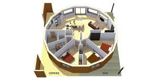 plan de cellule maison ronde bois