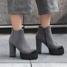 <b>Big Size</b> 32-<b>42 Elegant</b> Mixed-color Flock Ankle Boots Women ...