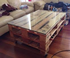 brown rectangle pallet wood industrial style coffee table with glass