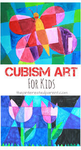 Picasso artist inspired Cubism art for kids. Spring arts & crafts ideas.  Butterflies and