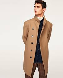 zara man camel aymmetric coat