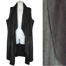 oliver black faux leather duster vest womens size m snakeskin texture new