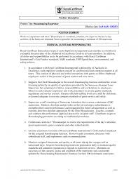 Hotel Housekeeping Supervisor Free Sample Resume Download Vinodomia
