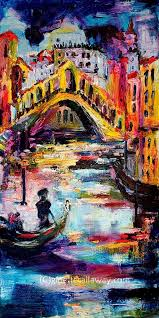italy venice rialto bridge large impressionist original oil painting by ginette callaway