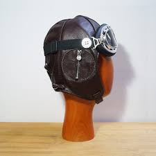 skullies steampunk steam punk style rock vintage leather flight helmet cap hat goggles men or women cap in costume accessories from novelty special use on