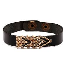 fb1456 lp seed bead handmade leather bracelet