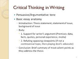 engaging students in critical thinking skills in class and beyond  critical thinking in writing persuasiveargumentative tone basic essay anatomy  introduction thesis statement
