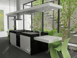 Modern Kitchen Island For A 3d Render Of A Modern Kitchen Island Stock Photo Picture And