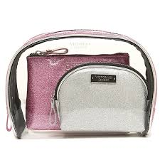 victoria s secret porch victorias secret 334019 e21 cosmetic bag trio makeup porch silver pink