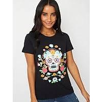 Black Embellished <b>Floral Skull T</b>-<b>Shirt</b>   Women   George