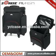 professional rolling makeup case 2 in 1 all black nylon soft sided professional rolling makeup case
