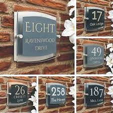 glass house number plaque door sign