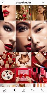 exle of the estee lauder insram feed showing several split images in their grid