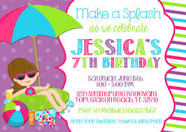 free printable birthday party invitations for girls swimming pool 5x7 invitation girl birthday party printable