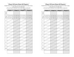 Sample Phase 10 Score Sheet Template Sample Phase 24 Score Sheet Template Resume Template Sample 8