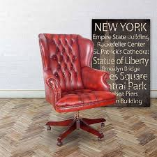 red leather office chair. Chesterfield Commander Leather Office Chair Red K