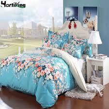 2 color 4pcs set 3d red blue flower comfortable bedding set king queen full