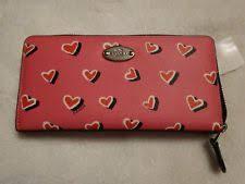 Coach Heart Print Accordion Zip Around Wallet 52563 Pink