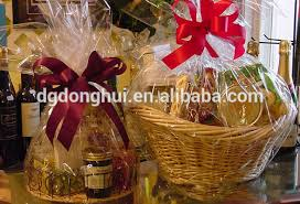 clear flat cello cellophane bags gift basket packaging bags for bakery cans
