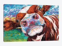 curious cow i by ee vitaletti 1 piece canvas art