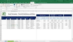 Excel Statistics Template Men Tennis Prediction Statistics Spreadsheet Microsoft Excel Betting