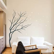 Winter Season Blossom Wall Art Stickers Trees Blowing Winds Leaf Modern  Decals