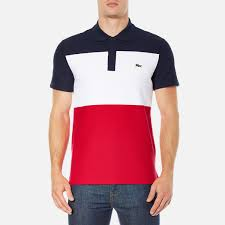lacoste men s short sleeve bold stripe polo shirt navy blue white red