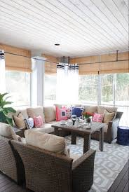 screened porch sheer curtains. The Tobago Outdoor Collection, Curtains And A Patterned Rug Turn This Screened In Porch Sheer