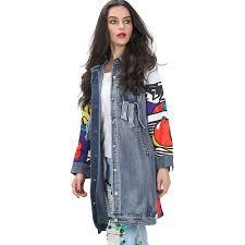 graffiti print spliced long sleeve jean denim trench coat for women ripped pockets windbreaker