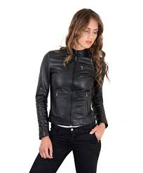 black nappa lamb leather biker jacket four zipper pockets