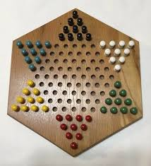 wood chinese checkers game with wooden pegs 12 x