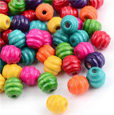 100 per bag 10mm oval barrel wooden beads ribbed mix 3mm hole