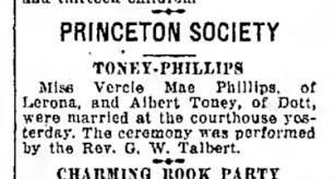 Albert Toney - Vercie Mae Phillips marriage - Newspapers.com