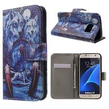 leather wallet case for samsung galaxy s7 g930 wolves and dream catcher 1
