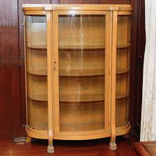 antique oak curio cabinet with curved glass front ebth throughout idea 16