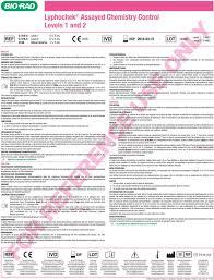 Bio Rad Quality Control Chart Lyphochek Assayed Chemistry Control Levels 1 And 2 Pdf