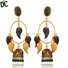 high quality jewelry 18k yellow gold plated brushed finish green onyx womens chandelier earrings traditional brass