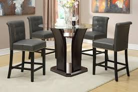 round glass table top 5pc counter height dining set w gray or burdy chairs