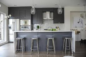 gray counter stools. Modern Gray Kitchen With Round Chrome Counter Stools P