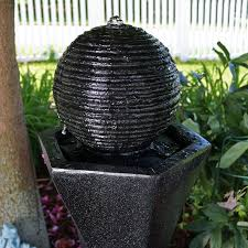 resin solar pedestal and ball water fountain with light ball water fountain l26