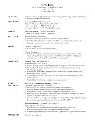 Objective Of Resume For Internship Fair Marketing Resume Objectives Examples In Sample Objectives for 69