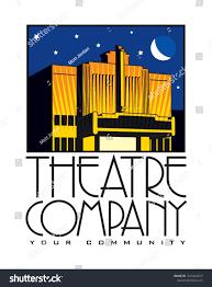 Theatre Company Logo Design Logo Design Theatre Building Company Building Stock Vector