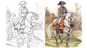 Coloring Books For Adults Timelapse Horses In Battle Copic Colouring Picture Napoleon