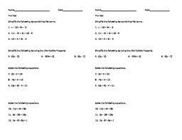 Equations Pre-Test by Wendy Adkins | Teachers Pay Teachers